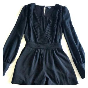 Black long sleeve romper, size S
